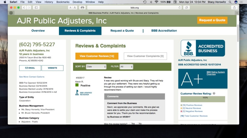 15 Reviews STRONG,                                     A+ Better Business Bureau Rating