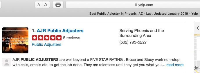 Honored to be recognized once again by YELP as Best Public Adjuster, Phoenix, Arizona January 2019