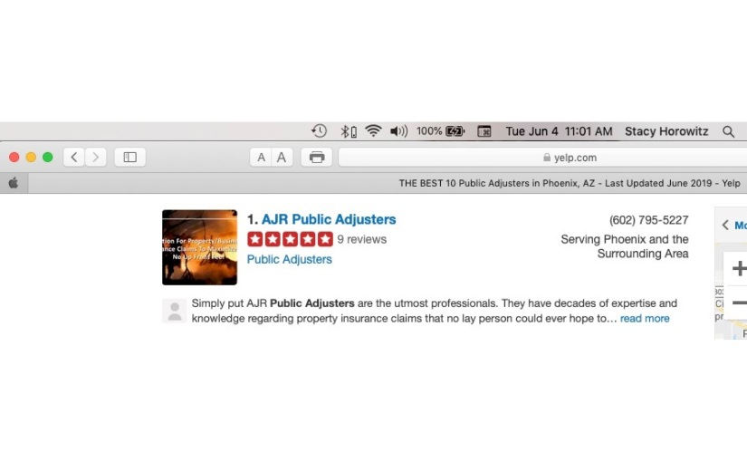 Another month listed as BEST Phoenix Public Adjuster on YELP