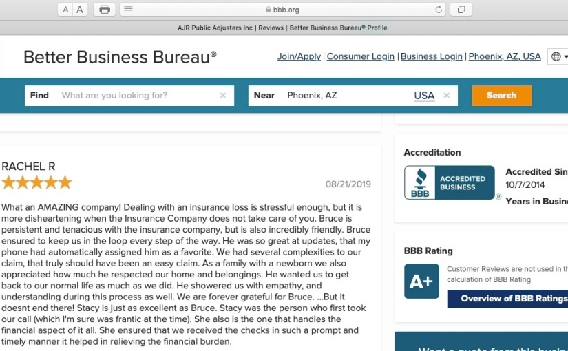 Another 5 STAR Better Business Bureau Review —